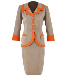 Costum dama bej-portocaliu