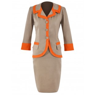 Costum-de-zi bumbac bej-orange