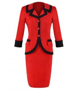 Costum-de-zi bumbac rosu-negru