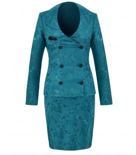 Costum turqoise din jacard