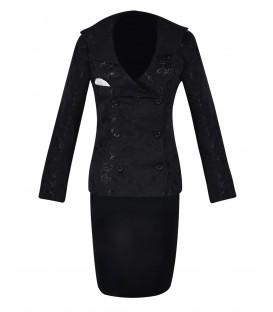 Costum-dama-jakard-satin-negru