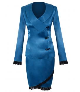 Costum-satin albastru