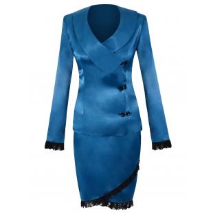 Costum saten albastru