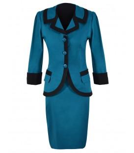 Costum-de-zi bumbac turquoise-negru