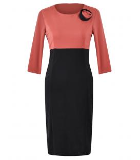 Rochie jerse negru-somon