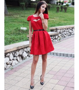 Rochie de zi sau ocazie din jacard rosu - Jaclyn