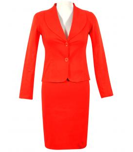 Costum bumbac-rosu-coral