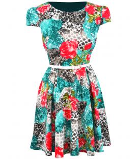 Rochie-de-zi-imprimata-turquoise-Irina-mare