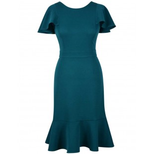 Rochie-cu-volane-turquoise