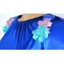 Rochie-office-catifea-albastra-flori-Viviene