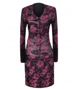 Costum negru cu imprmeu floral roz