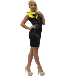 Rochie bumbac-satinat neagra